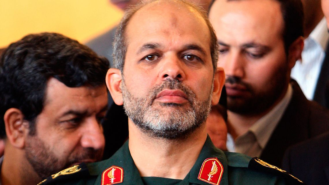 In this file photo taken on September 3, 2009, Iran's then-Defence Minister Ahmad Vahidi attends a press conference by Iranian President Mahmoud Ahmadienjad (not seen) in Tehran.
