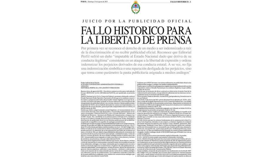 Perfil logró un fallo de enorme trascendencia para el periodismo argentino.