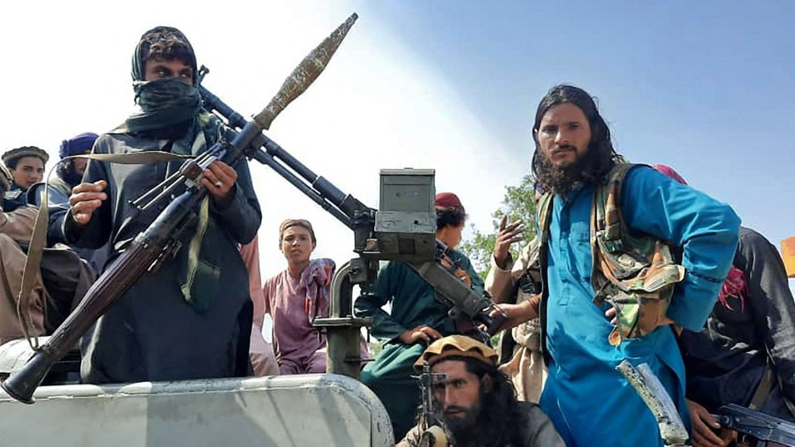 Taliban fighters on the edge of Kabul.