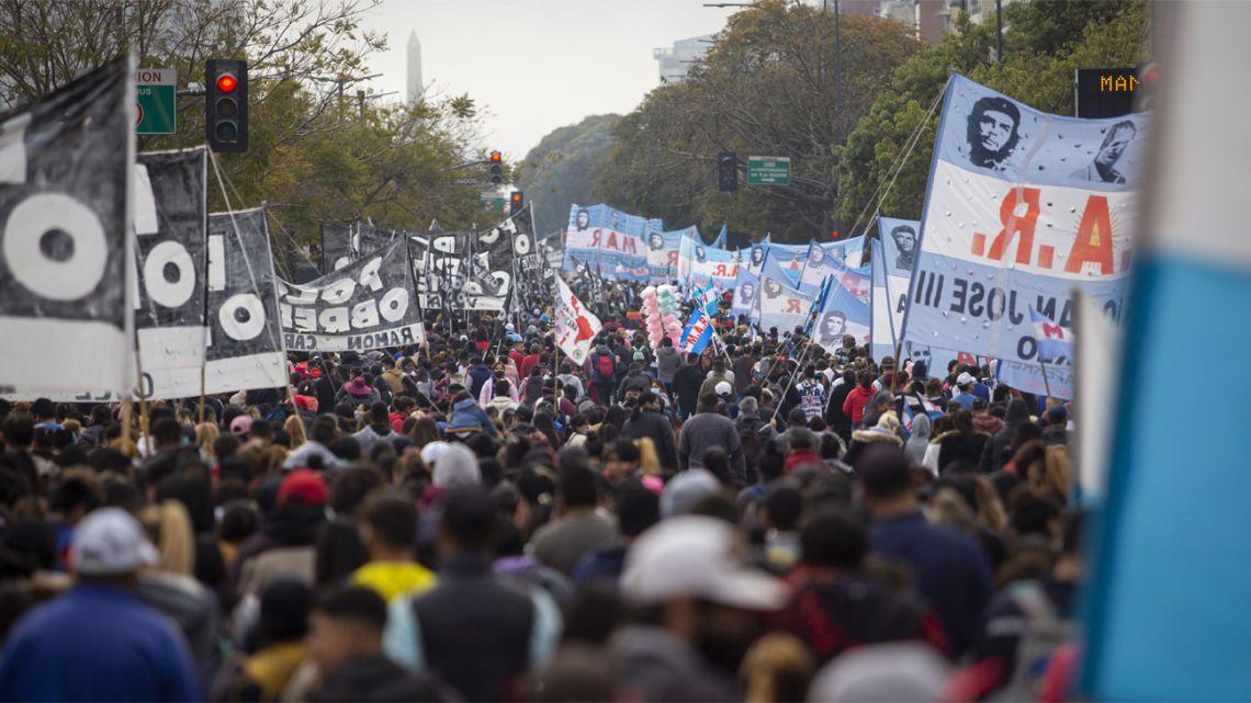 Social organisations lead a large protest onto Avenida 9 de Julio in Buenos Aires City.