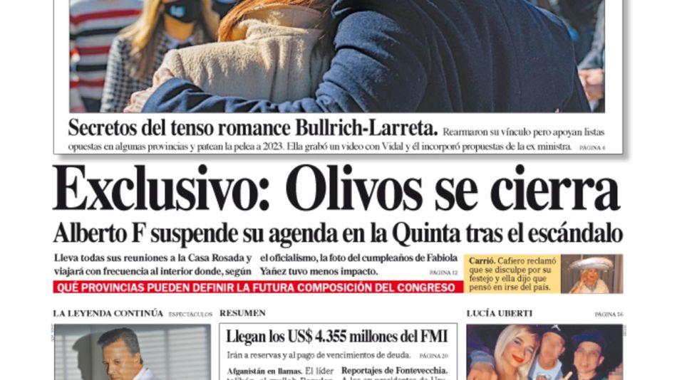 La tapa del Diario PERFIL de domingo 22 de agosto de 2021.
