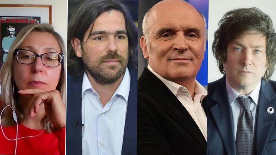 Myriam Bregman, Nicolas del Caño, Javier Milei y José Luis Espert