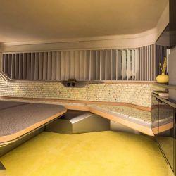 El interior se planteó como una verdadera suite, con una cuidada estética en base a maderas exóticas.