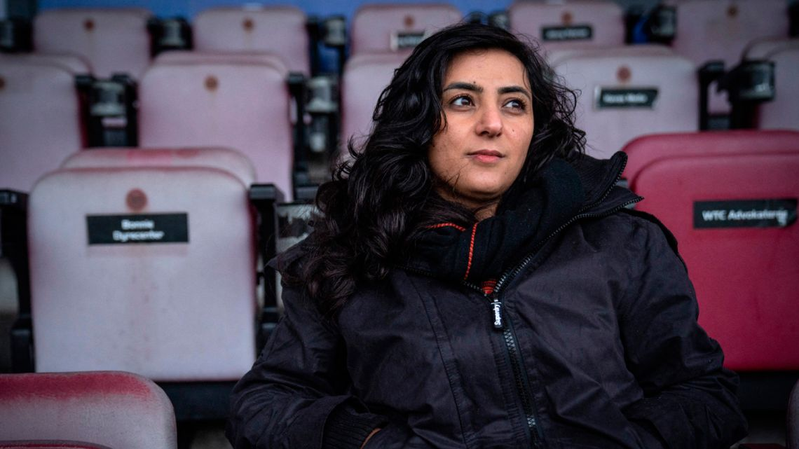 Former Afghanistan women's football captain Khalida Popal poses for a photographer at Farum Park stadion on December 21, 2020.