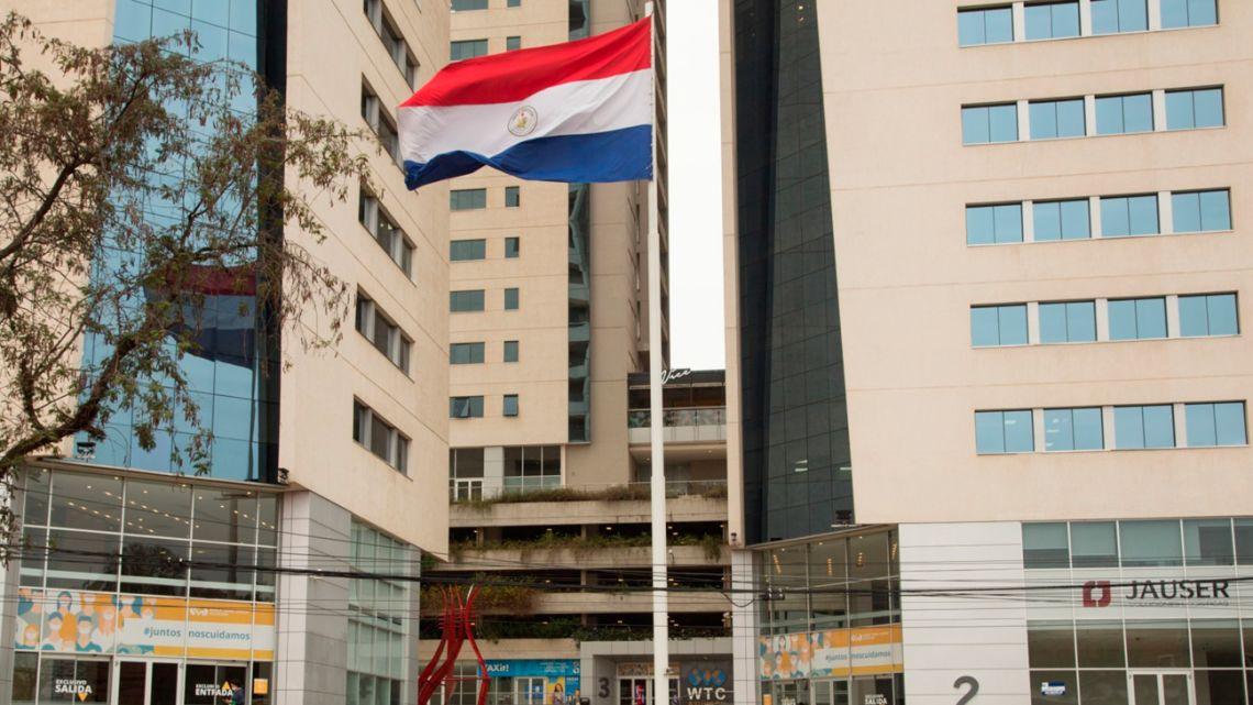 A Paraguayan flag is flown in Asunción.