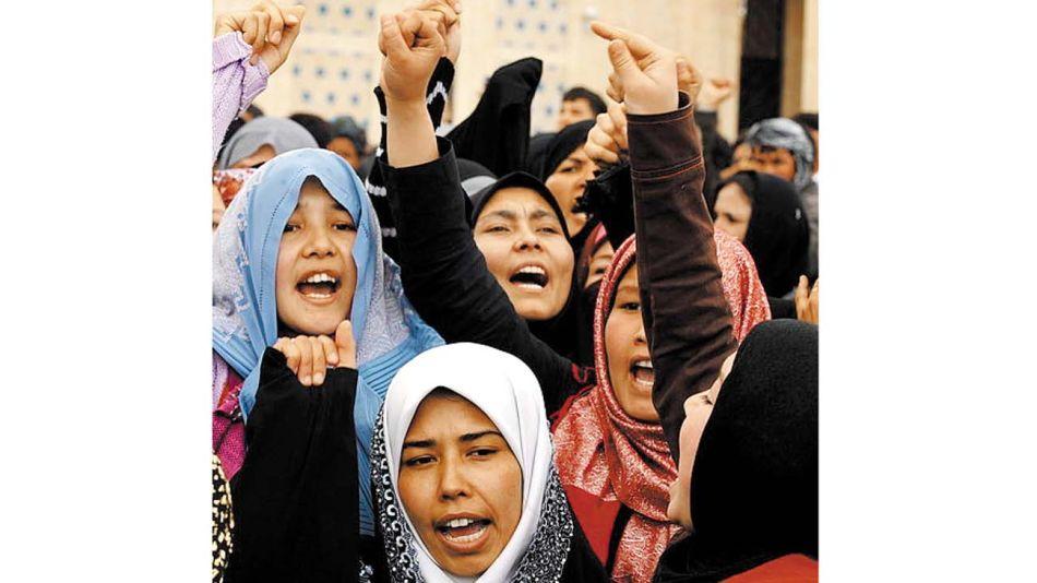 Mujeres protestan en un Kabul sin talibanes en 2009.