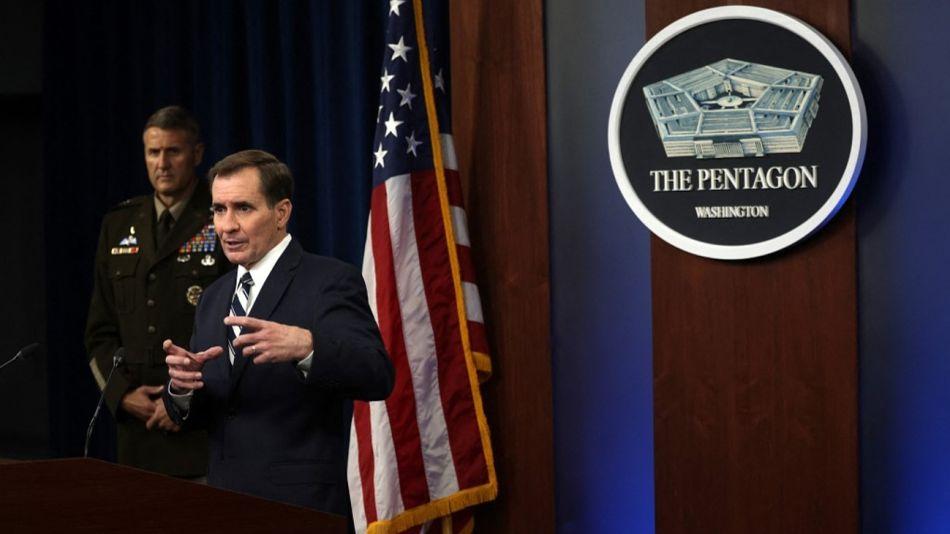 El vocero del Pentágono John Kirby y el general William Taylor, en una reciente conferencia de prensa.