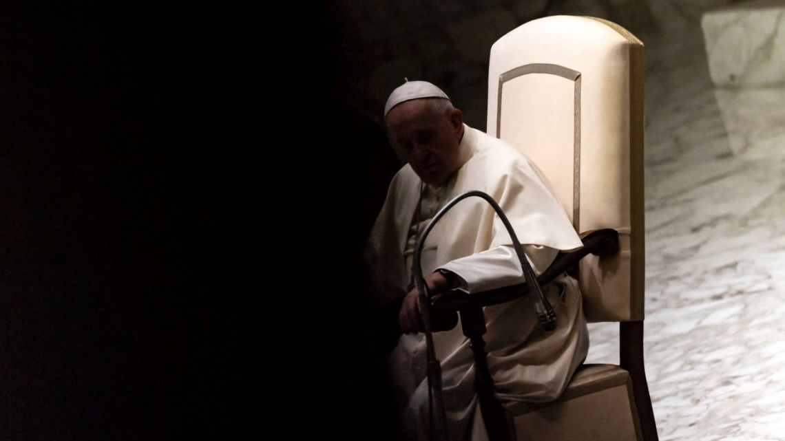 Pope Francis holds his weekly general audience in the Paul VI hall at the Vatican on September 1, 2021.
