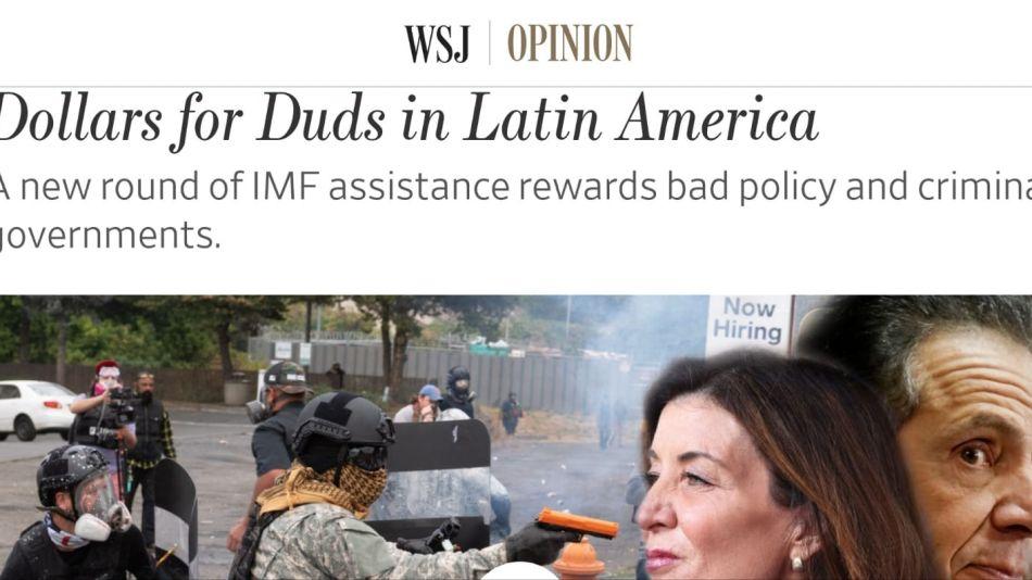 """""""Dólares para el fiasco en América latina"""", nota del WSJ que habla de Argentina"""