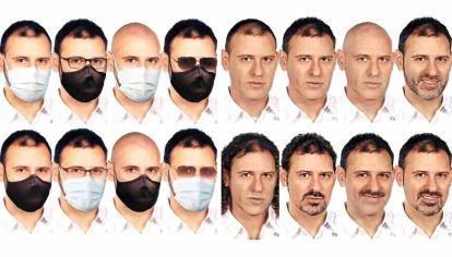Mil caras. Los investigadores difundieron estos fotomontajes con distintos cambios que el economista argentino podría haber adoptado en su fisonomía para pasar desapercibido.