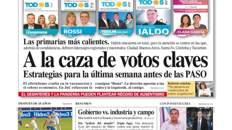 La tapa del Diario PERFIL de este domingo 5 de septiembre de 2021.