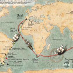 La ruta que le permitió a Sebastián Elcano dar la primera vuelta al mundo en una nave.
