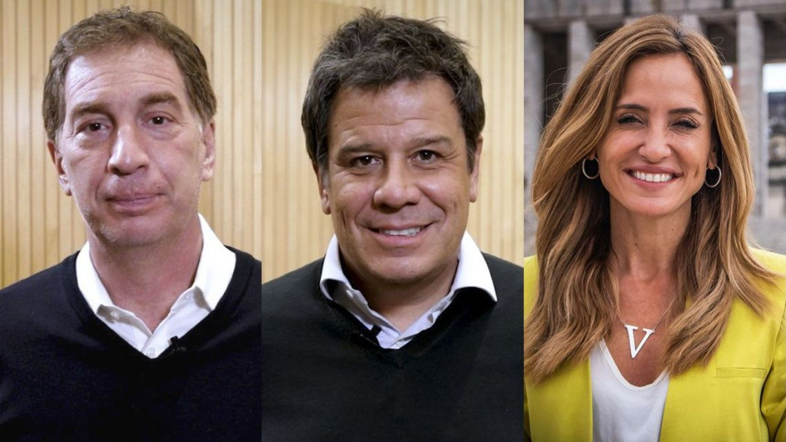 The main candidates in Buenos Aires Province for the upcoming PASO primaries, from left to right: Diego Santilli, Facundo Manes and Victoria Tolosa Paz.