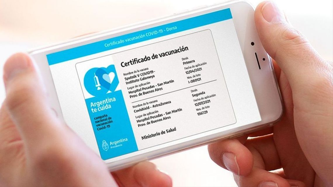 Travellers will certify their vaccination record when overseas using 'Mi Argentina' app, the government has announced.