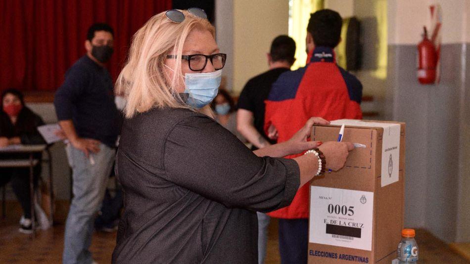 Elisa Carrió votó este mediodía en Capilla del Señor 20210912