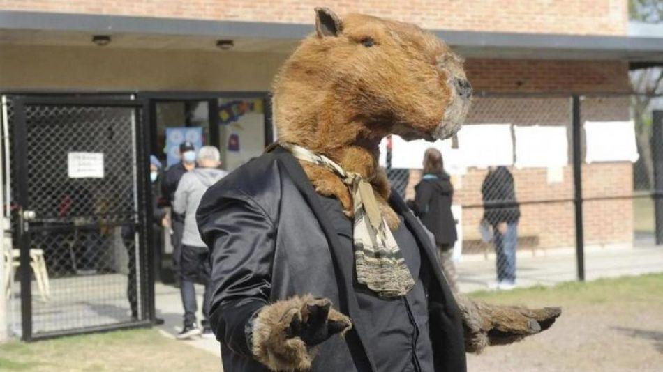 Hombre disfrazado de carpincho fue a votar en Nordelta