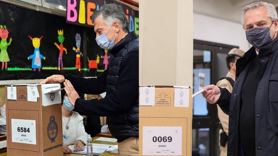 Voto Mauricio Macri y Alberto Fernández 20210912