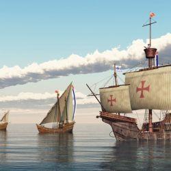 """""""La Pinta"""", """"La Niña"""" y la """"Santa Maria"""", las tres carabelas que acompañaron a Colón en el descubrimiento de América."""