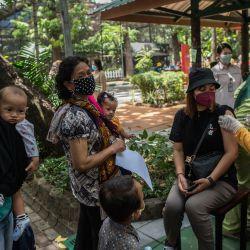 Un trabajador sanitario inocula a una mujer una dosis de la vacuna Sinovac Covid-19 durante una vacunación masiva en un zoológico de Surabaya.   Foto:Juni Kriswanto / AFP