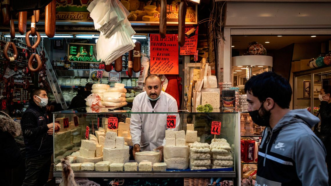 A cheese stall in Istanbul, Turkey.