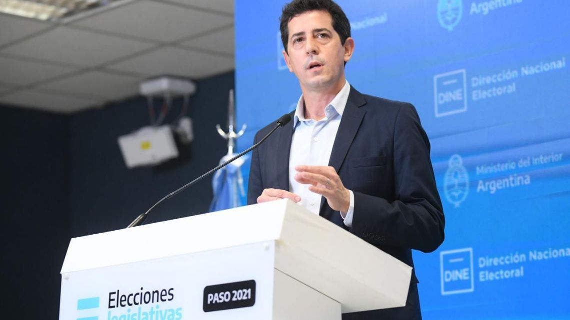 Interior Minister Eduardo 'Wado' de Pedro talks to the media during PASO primaries election night.