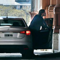 Llegada del jefe de Gabinete, Santiago Cafiero, a la casa de Gobierno. | Foto:Télam