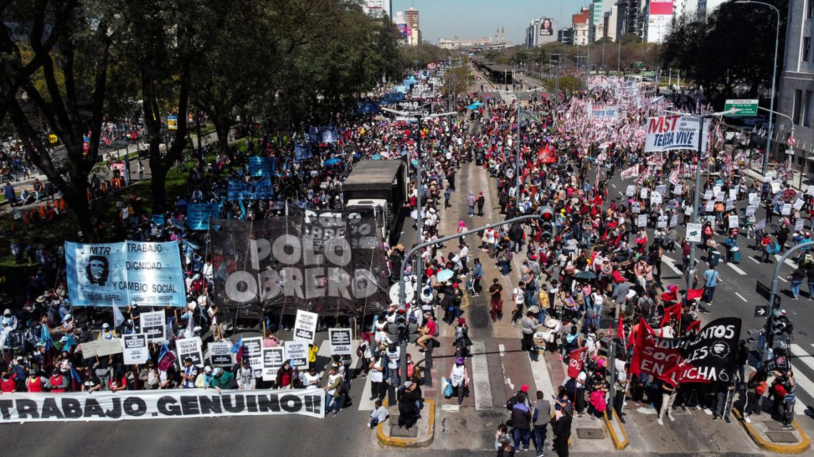 Aerial view of people protesting against on Avenida 9 de Julio, in Buenos Aires, on September 16, 2021.