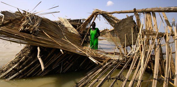 Refugiados sudsudaneses intentan reparar su cabaña en las aguas inundadas del Nilo Blanco en un campo de refugiados que se inundó tras las fuertes lluvias cerca de al-Qanaa en el sur de Sudán.