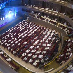 Imagen de la sede de un foro llevado a cabo para lanzar una aplicación integral en línea que ofrece a los usuarios una amplia gama de servicios estatales para impulsar la transformación digital, en la Ciudad de Kuwait.   Foto:Xinhua / Asad