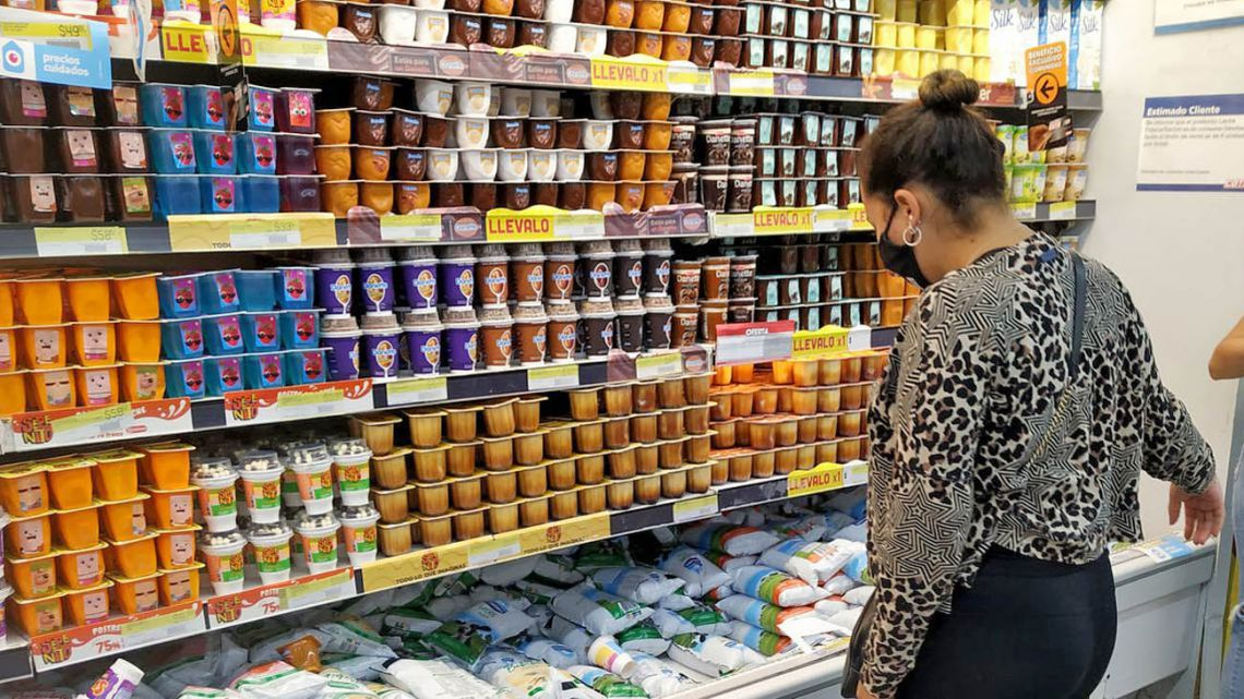 A woman shops at a supermarket in Buenos Aires.