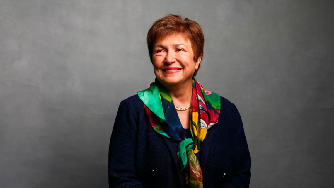 Kristalina Georgieva, managing director of the International Monetary Fund, poses for a photograph at the World Economic Forum in Davos, Switzerland, on Thursday, January 23, 2020.