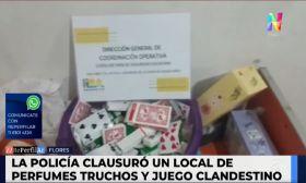 Flores: la policía clausuró un local que vendía perfumes truchos y de juego clandestino