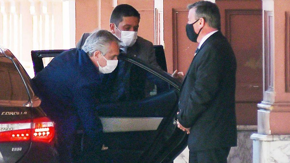 President Alberto Fernández arrives at the Casa Rosada.