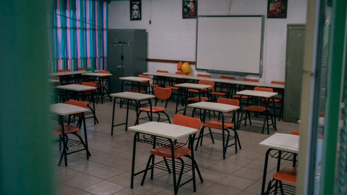 An empty classroom at an elementary school in Mexico City, Mexico, on Monday, August 30, 2021.