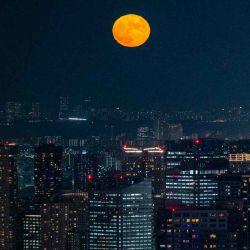 La luna llena se ve desde el mirador de RoppongiHills en Tokio.  | Foto:AFP