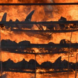 Cuernos de rinoceronte incautados arden en un horno en una campaña contra la caza furtiva para conmemorar el Día Mundial del Rinoceronte cerca del Parque Nacional Kaziranga en Bokakhat.  | Foto:AFP