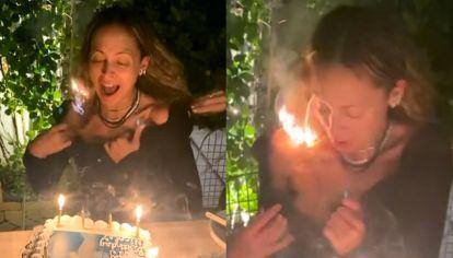 Nicole Richie se le prendió fuego el pelo mientras soplaba las velitas por su cumpleaños
