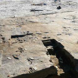 Muestra huellas fosilizadas que se están preparando para imágenes tridimensionales en Nuevo México. - Las huellas que datan de hace 23.000 años se han descubierto en los EE. UU. | Foto:AFP