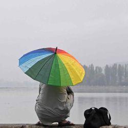 Un hombre sostiene un paraguas durante una lluvia mientras pesca en las orillas del lago Dal en Srinagar.   Foto:AFP