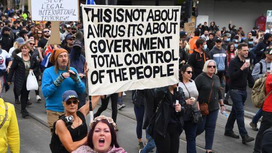 Protestas en Australia  contra las regulaciones de Covid-19 20210924