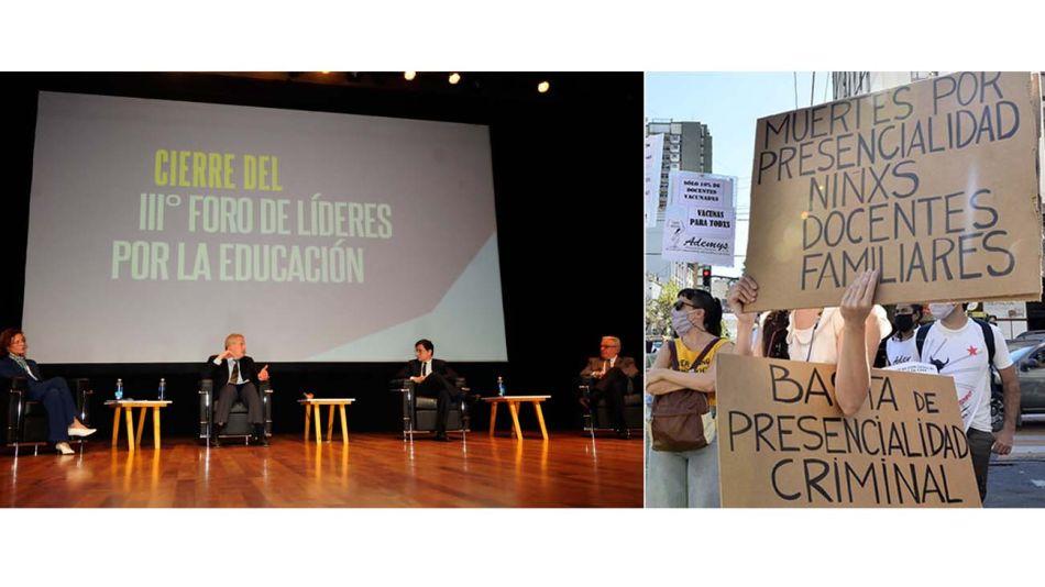 Ministro de Educación. Jaime Perczyk expone en el Foro por la Educación organizado por Perfil, Unicef y la UBA. Sindicato docente Ademys protesta por la presencialidad.