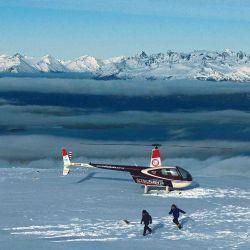 Al día siguiente optamos por volar en helicóptero para ver el resultado de la nevada.