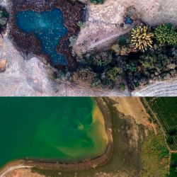 Top: Frost blankets a farm in the Minas Gerais state of Brazil on July 30. Bottom: A dry bank near a coffee plantation in the Parana River Basin of Minas Gerais just a month earlier.