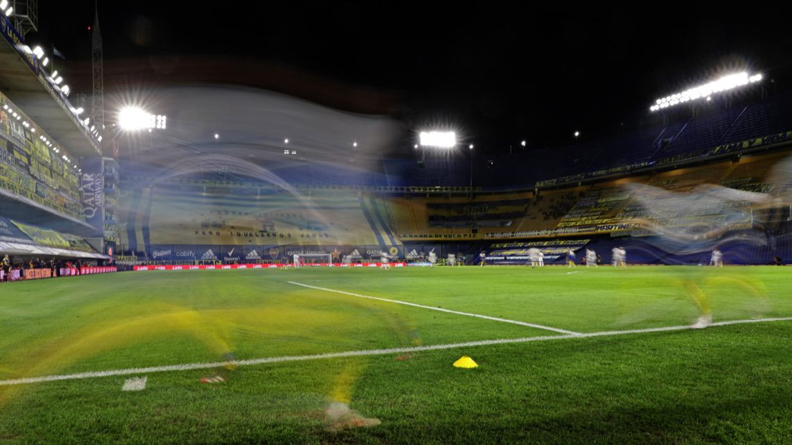 View of the empty stands of La Bombonera stadium, pictured during a Boca Juniors-Colón match during the Covid-19 pandemic.