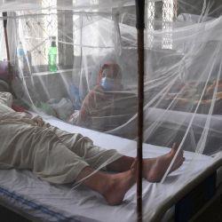 Familiares sentados junto a pacientes con dengue que descansan bajo un mosquitero en un hospital de Lahore. | Foto:Arif Ali / AFP