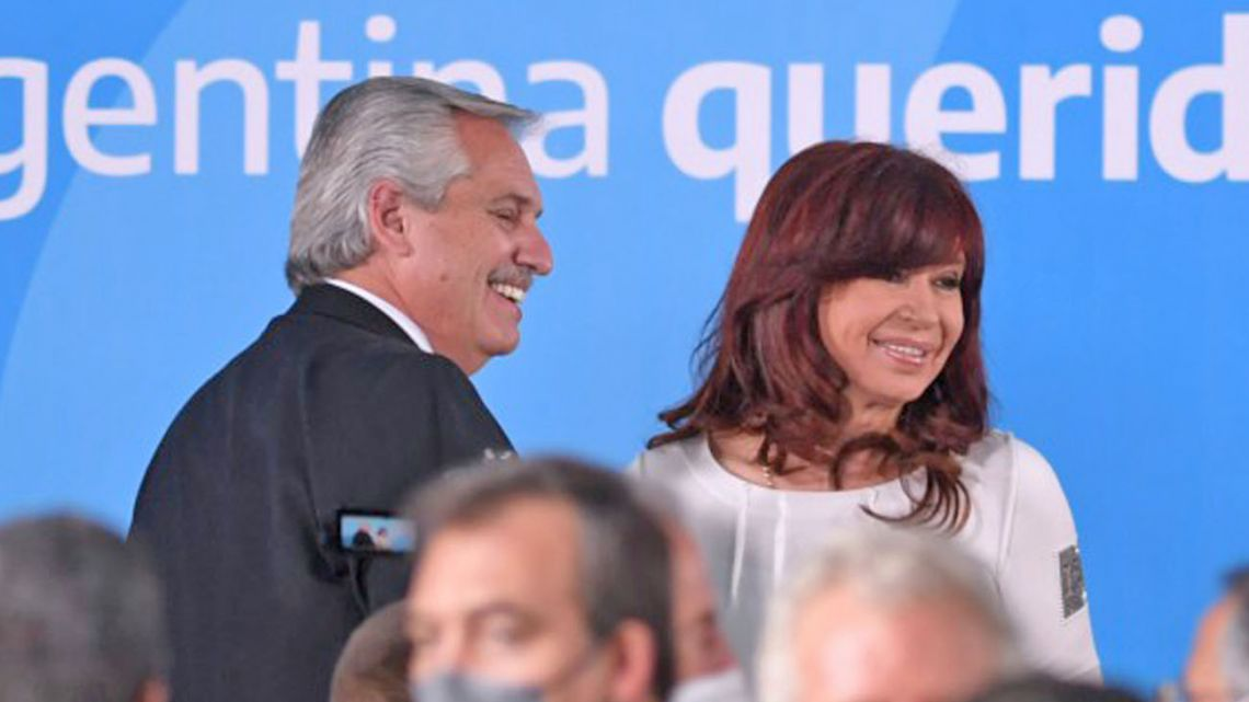 President Alberto Fernández and Vice-President Cristina Fernández de Kirchner, pictured at an event at the Casa Rosada.
