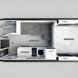 El interior ofrece todo lo necesario para albergar a 2 personas cómodamente.