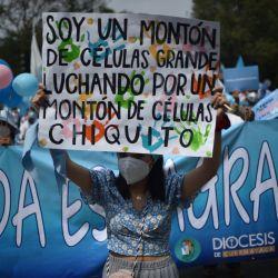 Una mujer sostiene un cartel durante una marcha de la asociación ProVida contra la legalización del aborto, en su camino hacia el Paseo Reforma, en la Ciudad de México.   Foto:RODRIGO ARANGUA / AFP