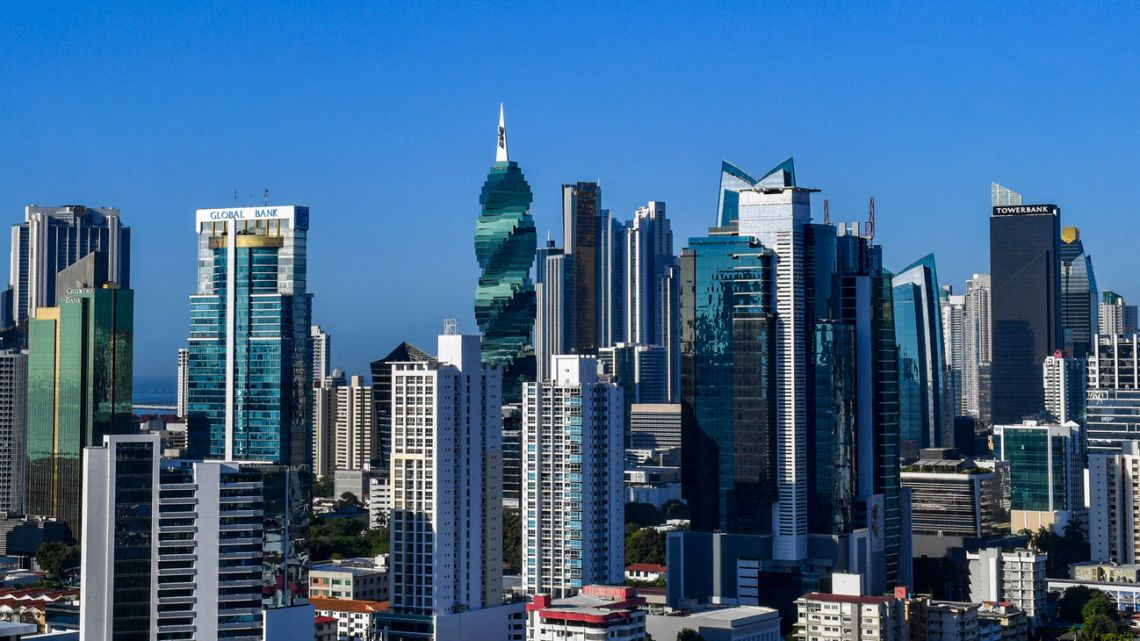 An aerial view of the financial centre of Panama City.