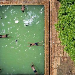 En esta fotografía aérea, unos niños juegan en una pileta en una granja en las afueras de Bangalore.   Foto:Manjunath Kiran / AFP